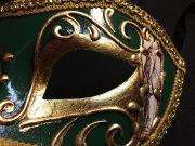 masque vénitien, loup vénitien déguisement, masque venitien homme, acheter masque vénitien paris, masque vénitien femme, boutique masque vénitien paris, masque vénitien fait main Vénitien, Civette Comédia, Vert