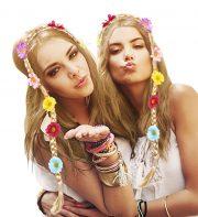 couronne de fleurs, accessoire fée déguisement, accessoire déguisement fée, accessoire hippie déguisement, accessoire déguisement hippie, accessoire couronne de fleurs, bandeau fleurs déguisement Bandeau Natte Fleurie