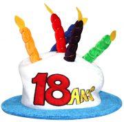 chapeau anniversaire, chapeau gâteau d'anniversaire, accessoire pour anniversaire, chapeau bougies 18 ans, accessoire 18 ans anniversaire, accessoire anniversaire 18 ans, chapeau anniversaire 18 ans Chapeau Anniversaire, 18 ans