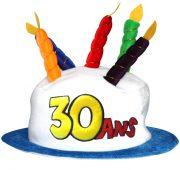 chapeau anniversaire, chapeau gâteau d'anniversaire, accessoire pour anniversaire, chapeau bougies 30 ans, accessoire 30 ans anniversaire, accessoire anniversaire 30 ans, chapeau anniversaire 30 ans Chapeau Anniversaire, 30 ans