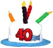 chapeau anniversaire, chapeau gâteau d'anniversaire, accessoire pour anniversaire, chapeau bougies 40 ans, accessoire 40 ans anniversaire, accessoire anniversaire 40 ans, chapeau anniversaire 40 ans Chapeau Anniversaire, 40 ans