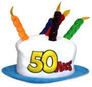 chapeau anniversaire, chapeau gâteau d'anniversaire, accessoire pour anniversaire, chapeau bougies 50 ans, accessoire 50 ans anniversaire, accessoire anniversaire 50 ans, chapeau anniversaire 50 ans Chapeau Anniversaire, 50 ans
