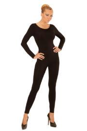 justaucorps noir, combinaison noire déguisement, accessoire déguisement femme, accessoire justaucorps déguisement femme, accessoire combinaison femme déguisement Combinaison Justaucorps Manches Longues, Noir