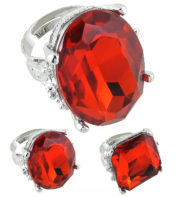 bague fausse pierre précieuse, bague de déguisement, bague de fête pas cher, bague de cardinal, bague faux diamant, grosse bague pas cher, bagues avec fausses pierres Bague Fashion Ring, Rouge