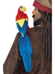 perroquet en plumes, perroquet de pirate, perroquet de décoration, accessoire pirate déguisement, accessoire hawaï déguisement, accessoire déguisement pirate, accessoire déguisement hawaï, faux perroquet Perroquet à Plumes, Queue Bleue