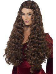 perruque pas chère à paris, perruques femmes, perruques de déguisement, perruque historique, perruque médiévale, perruque moyen âge, perruque de déguisement, perruque renaissance déguisement, accessoire déguisement médiéval, perruque pour se déguiser, perruque brune, perruque châtain Perruque Médiévale Princesse, Châtain
