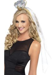 bride to be, enterrement de vie de jeune fille, accessoires evjf, serre tete voile original, serre tête diamant Bague Diamant sur Voile de Mariée