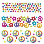 confettis de table, décorations de table, décorations peace and love, confettis hippies, décos hippies, insignes peace and love Confettis de Table, Hippie Peace