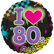 ballon hélium, ballon aluminium, ballon mylar, ballon années 80, ballon décoration disco, décorations années 80 Ballon Aluminium, I Love 80