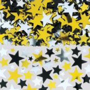 confettis de table, confettis étoile, décorations de table, décorations étoiles Confettis de Table, Etoiles Noires, Argent et Or