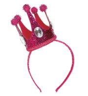couronne rose déguisement, couronne de princesse, accessoire enterrement vie de jeune fille, serre tête couronne, couronne de reine rose, couronne evjf Couronne Rose Fuchsia avec Pierre