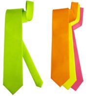 cravate de déguisement, cravate fluo, accessoire fluo, cravate jaune, cravate verte, cravate orange, cravate rose, accessoire fluo pour déguisement Cravate Néon Fluo, Rose, Jaune, Orange, Verte