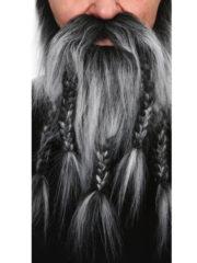 fausse barbe, fausses moustaches, postiche, barbe postiche, fausse barbe réaliste, fausse barbe de déguisement, barbe de viking, barbe avec tresses, barbe avec nattes, barbe de gaulois Barbe, Luxe, Gaulois et Viking, Grise