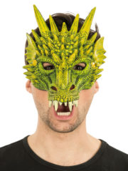 masque de dragon, masque dragons halloween, masque halloween, masques de dragons, masque de monstre Demi Masque de Dragon Vert