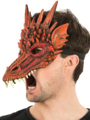 masque de dragon, masque dragons halloween, masque halloween, masques de dragons, masque de monstre Demi Masque de Dragon Rouge