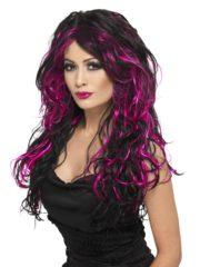 perruque pour femme, acheter perruque femme à paris, perruque de déguisement, perruque pas cher, perruque ondulée, perruque Halloween, perruque sorcière, perruque noire et rose Perruque Gothic Bride, Noire et Rose