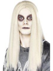 perruque zombie homme, perruque halloween, perruque cheveux longs homme, perruque blanche, perruque halloween zombie Perruque Ghost Town Zombie, Blanche