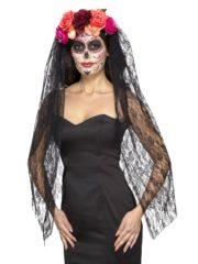 accessoire jour des morts halloween, couronne fleurs jour des morts déguisement, serre tête jour des morts déguisement, accessoire halloween, déguisement halloween jour des morts femme Voile Dentelle et Fleurs Jour des Morts