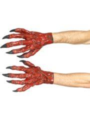 mains de monstre, gants mains de monstres, gants de monstres griffes rouges, gants de démon Gants de Diable Rouges avec Griffes