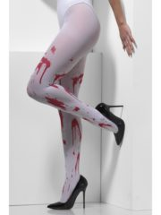 collants faux sang halloween, collants avec faux sang halloween, accessoires halloween, collants taches de faux sang Collants Blancs Ensanglantés