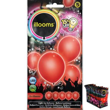 ballons à led, ballons lumineux, ballons fluos, ballons de baudruche, ballons hélium, ballons anniversaires, ballons lumineux Ballon à LED, Rouge, X 5