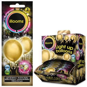 ballons à led, ballons lumineux, ballons fluos, ballons de baudruche, ballons hélium, ballons anniversaires, ballons lumineux Ballon à LED, Or, X 2