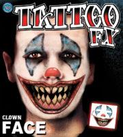 tatouage temporaire, faux tatouage, faux tatouage déguisement, faux tatouage halloween, maquillage halloween, faux tatouage blessures, faux tatouages effets spéciaux déguisement, faux tatouage clown effrayant Tatouage Temporaire, Clown Killer