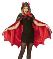 cape de diable, cape halloween, déguisement de diable, diablesse halloween, déguisement de diable pour halloween, cape rouge halloween Cape de Diable, Rouge et Noire, Satin