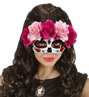 masque squelette mexicain, masque de déguisement, masque mexicain halloween, masque déguisement halloween, accessoire déguisement halloween masque, masque dia de los muertos, masque dia de la muerte, masque halloween, masque halloween day of death, jour des morts mexicain, masque jour de morts adulte, masque halloween femme Loup Jour des Morts, Fleurs Roses