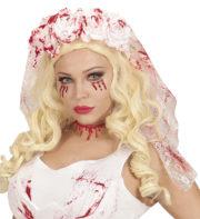 voile de mariée sanglant, accessoire halloween mariée de la mort, voile de mariée de la mort, voile de mariée faux sang Voile de Mariée de la Mort, Fleurs et Faux Sang