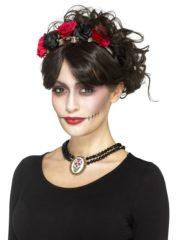 collier jour des morts, collier dia de los muertos halloween, bijoux halloween, accessoire déguisement halloween, collier halloween jour des morts Collier Jour des Morts, Perles et Médaillon Mexicain
