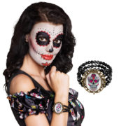 bracelet jour des morts, bijoux jour des morts mexicains, bijoux dia de los muertos, accessoire jour des morts, accessoire mort mexicaine Bracelet Jour des Morts, Perles et Médaillon