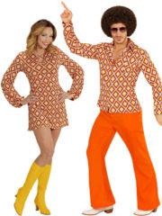 déguisement disco homme et femme, déguisement couple disco, déguisement disco couples, costumes disco couples, déguisement années 70 adulte, déguisement disco adulte Disco Rhombus, Pantalon et Robe Tunique