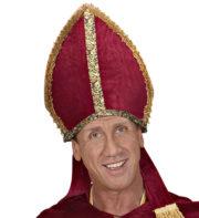 mitre de cardinal, mitre d'évêque, chapeau de cardinal, accessoire déguisement saint nicolas, mitre de saint nicolas, mitre de cardinal Mitre de Cardinal, Velours, Broderies et Liserés Or