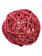 décorations de noël, décos de noël, boule de noël en rotin, boule de noël originale, boule de noël paillettes, boule de noël rouge Boule en Rotin, Paillettes Rouges, 12 cm