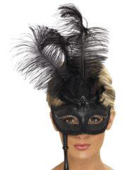 masque vénitien, masque vénitien sur bâton, loup vénitien sur bâton, face à main vénitien, loup vénitien à plumes, masque vénitien noir Loup Baroque Fantasy sur Bâton