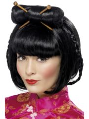 perruque chinoise, perruque japonaise, perruque asie, perruque noire, perruque de gesiha, perruque de geisha asiatique Perruque de Geisha Asiatique, Noire