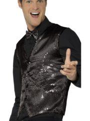 gilet noir déguisement, déguisement gilet noir paillettes, accessoire disco déguisement, gilet homme à paillettes, gilet homme déguisement, accessoire gilet pour homme, déguisement disco Gilet à Paillettes, Sequins Noirs