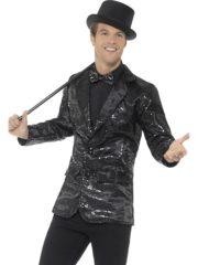 veste à paillettes, veste disco, veste disco à paillettes, déguisement disco à paillettes, veste paillettes noires Déguisement Disco, Veste à Paillettes Noires