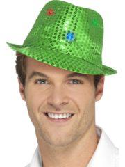 chapeau vert, chapeaux paillettes, chapeaux borsalino paillettes, chapeaux borsalino paris, chapeaux années 30 paris, chapeaux de fête, accessoires chapeaux, chapeaux lumineux, chapeaux clignotants, chapeaux led, chapeaux de fête Chapeau Borsalino Lumineux, Paillettes Vertes