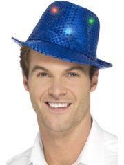 chapeau bleu, chapeaux paillettes, chapeaux borsalino paillettes, chapeaux borsalino paris, chapeaux années 30 paris, chapeaux de fête, accessoires chapeaux, chapeaux lumineux, chapeaux clignotants, chapeaux led, chapeaux de fête Chapeau Borsalino Lumineux, Paillettes Bleues