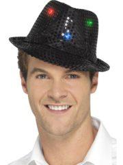 chapeau noir, chapeaux paillettes, chapeaux borsalino paillettes, chapeaux borsalino paris, chapeaux années 30 paris, chapeaux de fête, accessoires chapeaux, chapeaux lumineux, chapeaux clignotants, chapeaux led, chapeaux de fête Chapeau Borsalino Lumineux, Paillettes Noires
