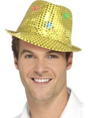 chapeau doré, chapeaux paillettes, chapeaux borsalino paillettes, chapeaux borsalino paris, chapeaux années 30 paris, chapeaux de fête, accessoires chapeaux, chapeaux lumineux, chapeaux clignotants, chapeaux led, chapeaux de fête Chapeau Borsalino Lumineux, Paillettes Dorées