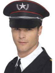 casquette militaire, casquette militaire déguisement, casquette colonel, casquette déguisement, casquette armée, casquette de militaire Casquette Militaire Noire, avec Etoile Brodée Argent