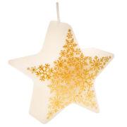 bougie étoile, bougie de noël, décorations, bougie de décoration, bougie de noël, bougie étoile Bougie Etoile Ivoire Flocons Or
