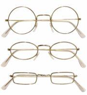 lunettes de déguisement, lunettes de fêtes, lunettes soirée déguisée, accessoires lunettes,lunettes fantaisie, lunettes pas chères, lunettes de père noel, lunettes de vieux, lunettes rondes or Lunettes Cerclées Dorées, 3 Formes