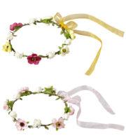 couronnes de fleurs, couronnes de fée fleurs, bandeaux de fleurs, couronnes de fleurs en tissu, accessoire couronne de fleurs Bandeau Couronne de Fleurs avec Rubans, 2 Modèles