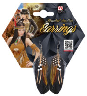 boucles d'oreilles à plumes, accessoire indienne, bijoux steampunk, accessoires bijoux d'indienne, boucles d'oreilles avec plumes, bijoux de déguisement Boucles d'Oreilles, Plumes et Perles
