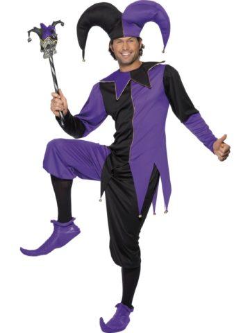 déguisement arlequin homme, déguisement fou du roi, déguisement bouffon, costume arlequin homme, déguisement carnaval homme Déguisement Arlequin, Bouffon ou Fou du Roi, Noir et Violet