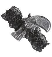 jarretière révolver, jarretière pistolet, mini révolver déguisement, accessoire steampunk déguisement, accessoire déguisement steampunk, accessoire déguisement cowboy femme Pistolet Jarretière en Dentelle Noire